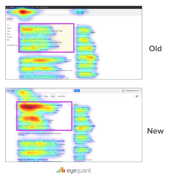 eyequant eye-tracking google redesign